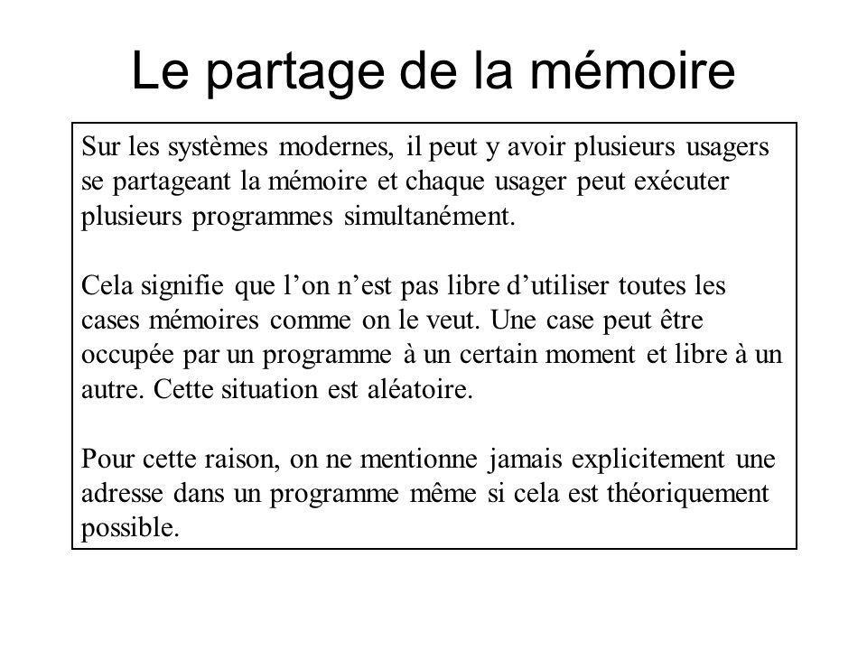 Le partage de la mémoire Sur les systèmes modernes, il peut y avoir plusieurs usagers se partageant la mémoire et chaque usager peut exécuter plusieur