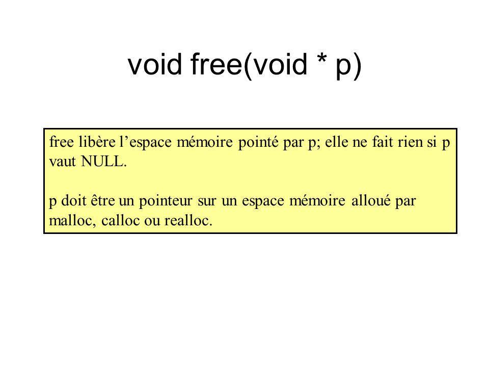 void free(void * p) free libère lespace mémoire pointé par p; elle ne fait rien si p vaut NULL. p doit être un pointeur sur un espace mémoire alloué p