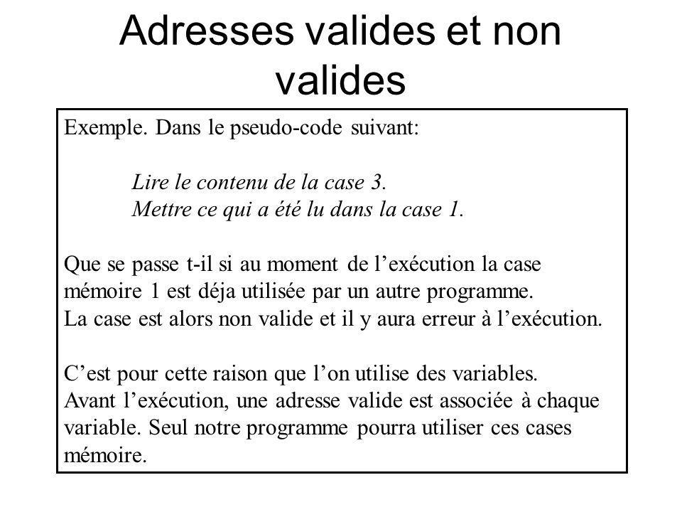 Adresses valides et non valides Exemple. Dans le pseudo-code suivant: Lire le contenu de la case 3. Mettre ce qui a été lu dans la case 1. Que se pass