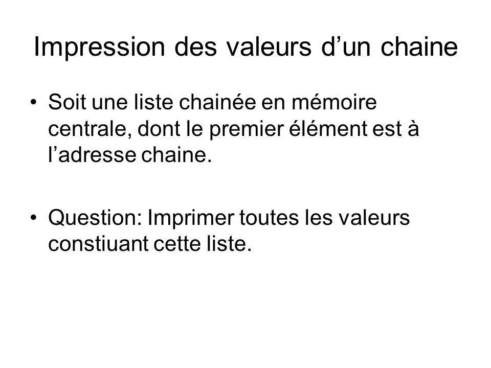 Impression des valeurs dun chaine Soit une liste chainée en mémoire centrale, dont le premier élément est à ladresse chaine. Question: Imprimer toutes