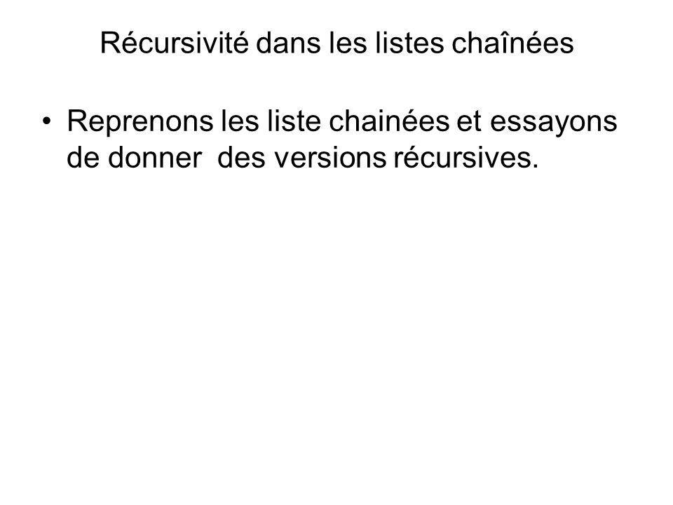 Récursivité dans les listes chaînées Reprenons les liste chainées et essayons de donner des versions récursives.