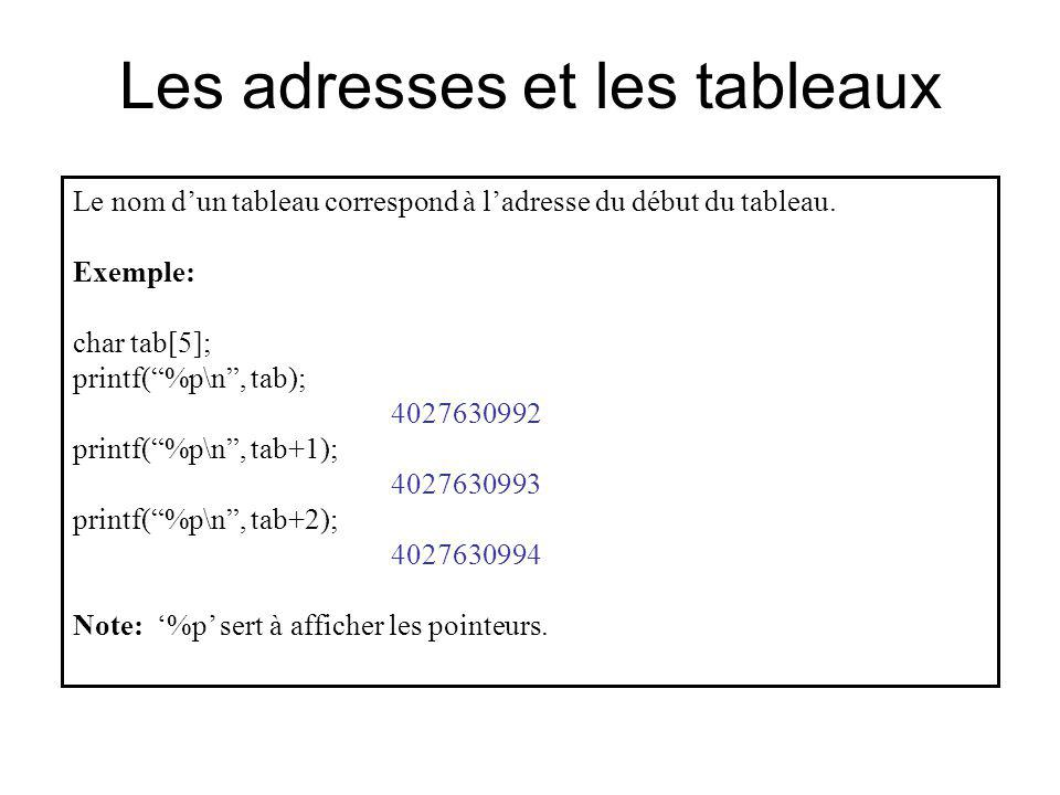 Les adresses et les tableaux Le nom dun tableau correspond à ladresse du début du tableau. Exemple: char tab[5]; printf(%p\n, tab); 4027630992 printf(