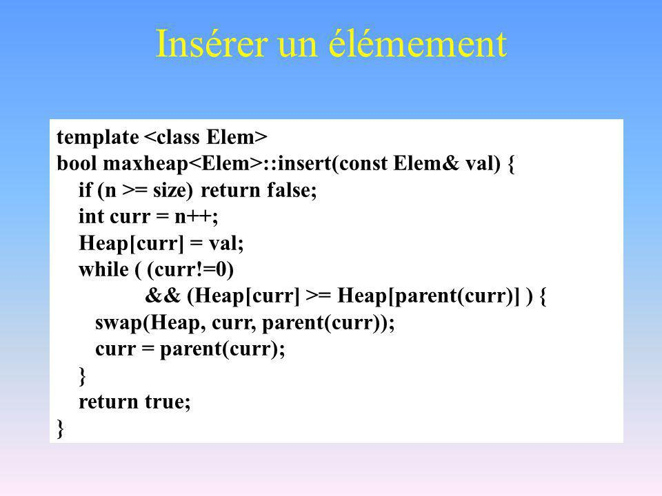 Insérer un élémement template bool maxheap ::insert(const Elem& val) { if (n >= size) return false; int curr = n++; Heap[curr] = val; while ( (curr!=0
