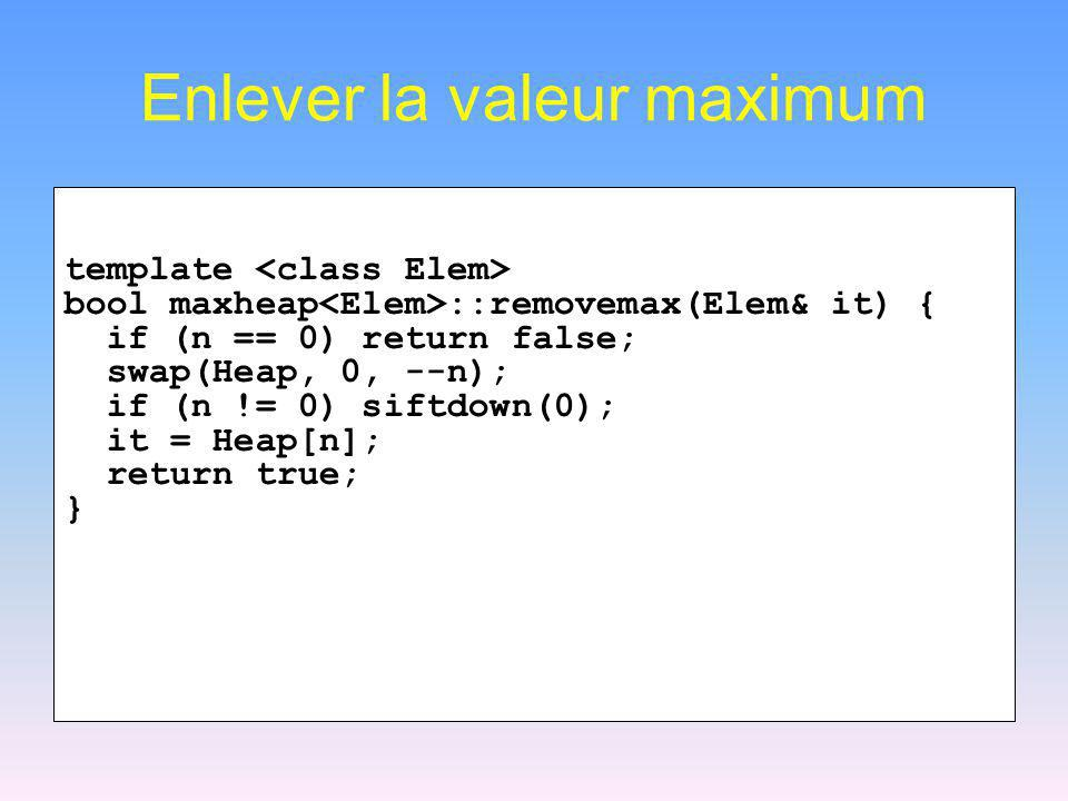 Enlever la valeur maximum template bool maxheap ::removemax(Elem& it) { if (n == 0) return false; swap(Heap, 0, --n); if (n != 0) siftdown(0); it = He