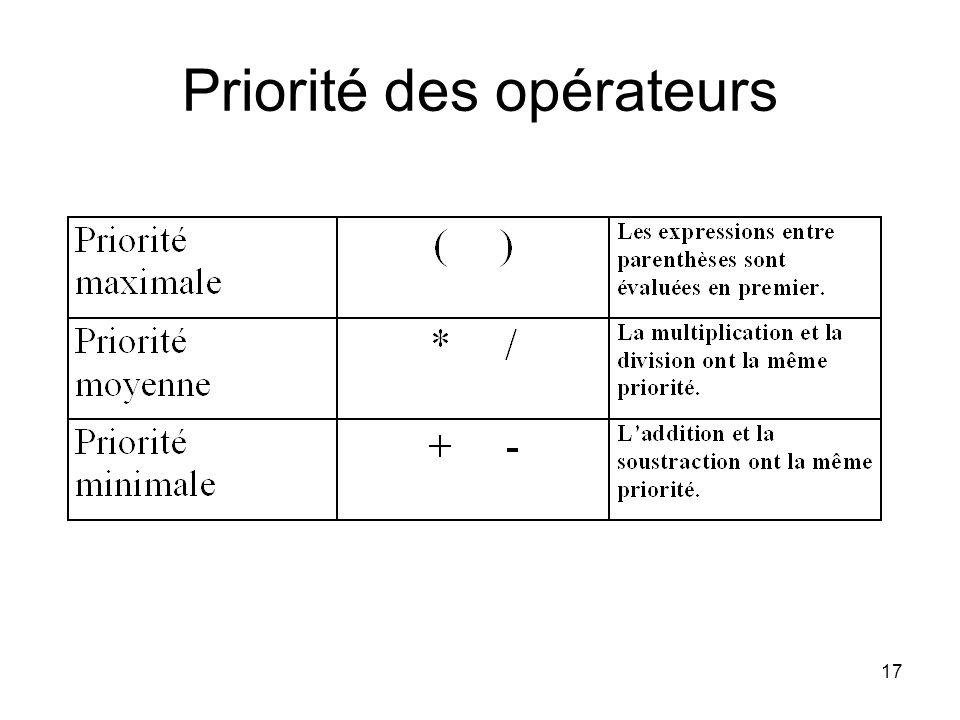 17 Priorité des opérateurs