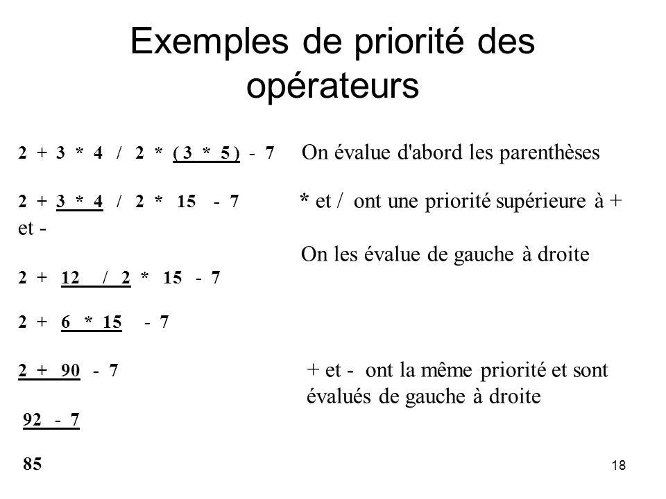 18 Exemples de priorité des opérateurs 2 + 3 * 4 / 2 * ( 3 * 5 ) - 7 On évalue d'abord les parenthèses 2 + 3 * 4 / 2 * 15 - 7 * et / ont une priorité