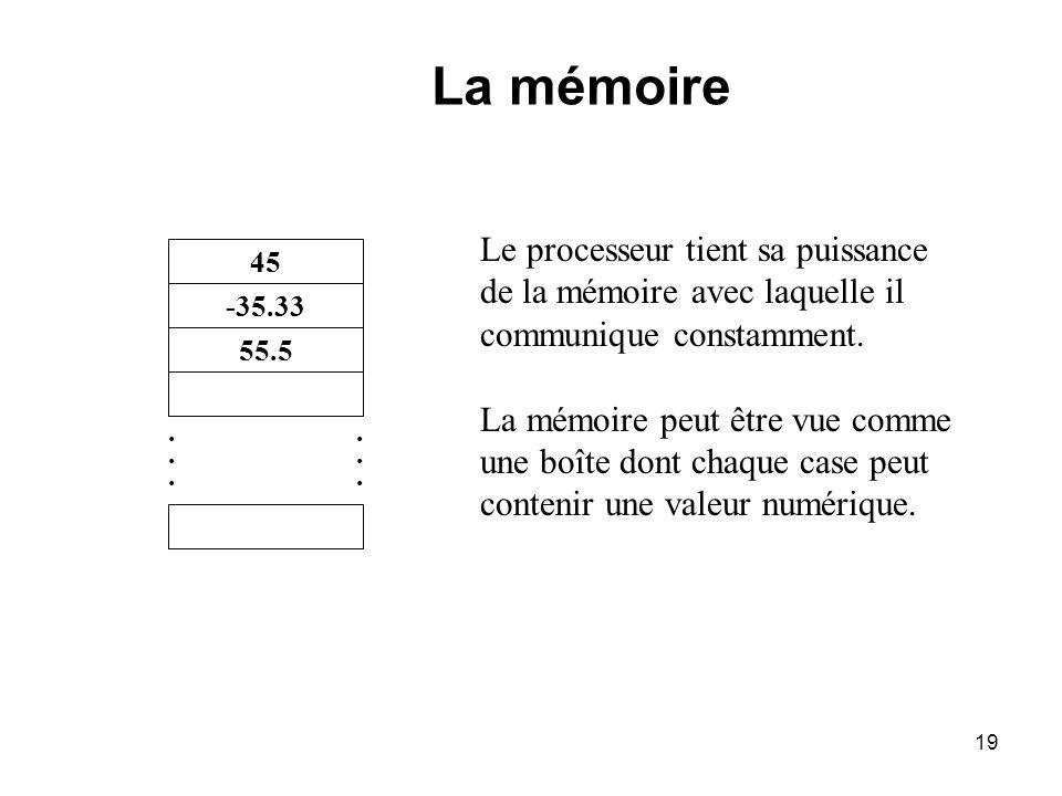 19 Le processeur tient sa puissance de la mémoire avec laquelle il communique constamment. La mémoire peut être vue comme une boîte dont chaque case p