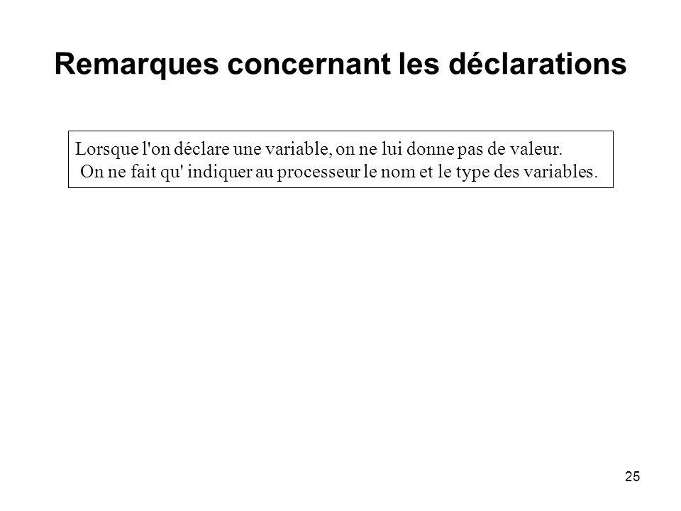 25 Remarques concernant les déclarations Lorsque l'on déclare une variable, on ne lui donne pas de valeur. On ne fait qu' indiquer au processeur le no