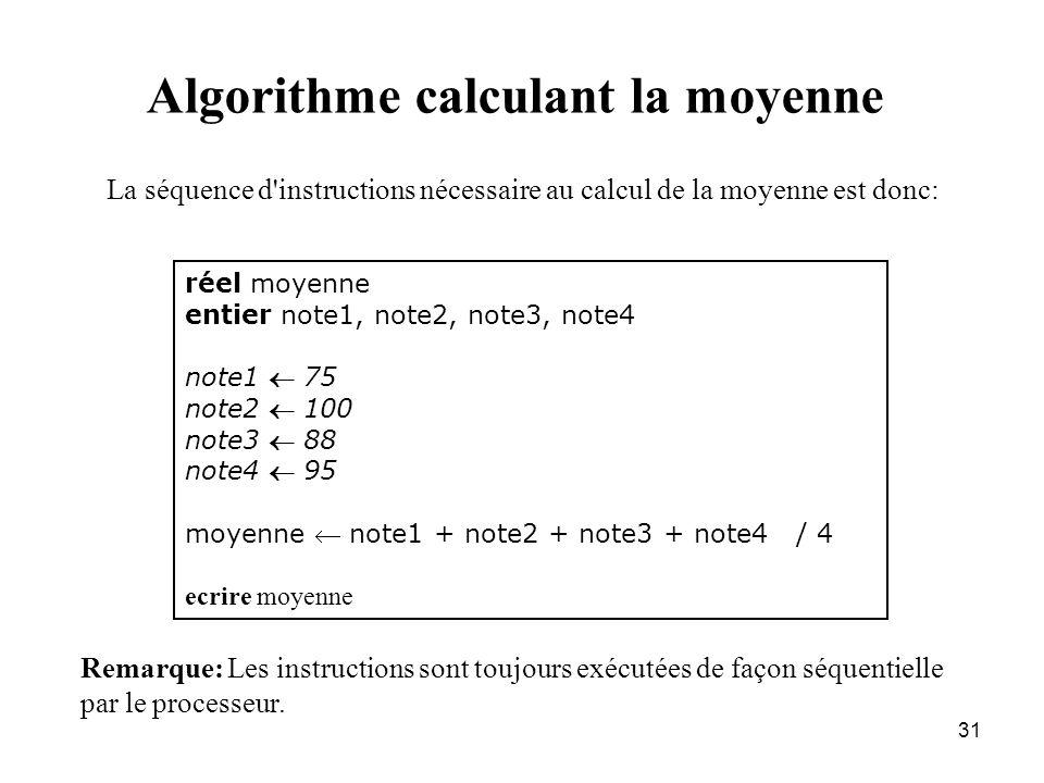 31 Algorithme calculant la moyenne réel moyenne entier note1, note2, note3, note4 note1 75 note2 100 note3 88 note4 95 moyenne note1 + note2 + note3 +