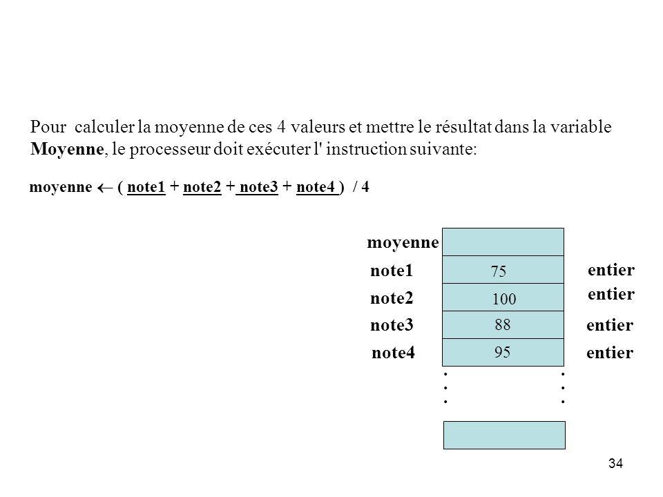 34 95 moyenne note1 note2 entier............ moyenne ( note1 + note2 + note3 + note4 ) / 4 note3 note4 entier 88 75 100 Pour calculer la moyenne de ce