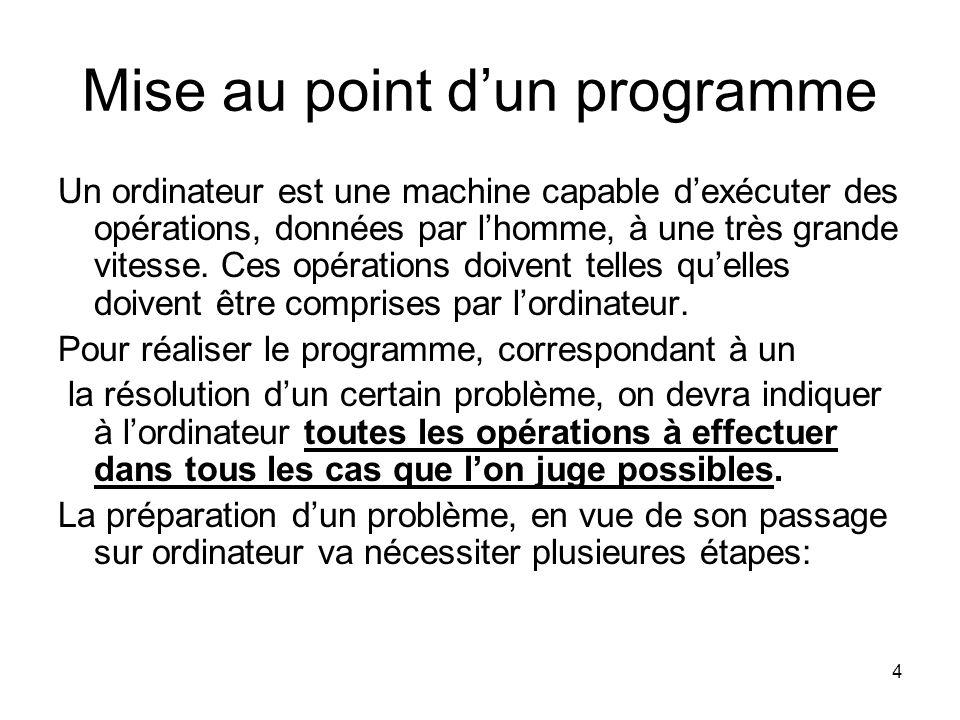 4 Mise au point dun programme Un ordinateur est une machine capable dexécuter des opérations, données par lhomme, à une très grande vitesse. Ces opéra