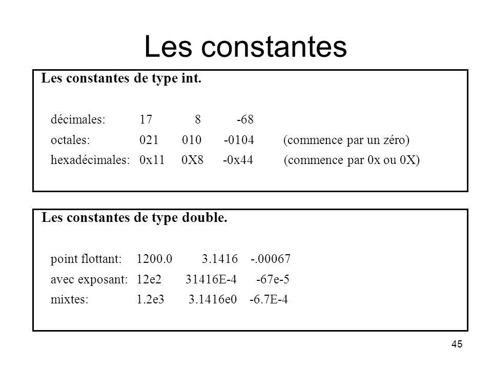 45 Les constantes Les constantes de type double. point flottant: 1200.0 3.1416 -.00067 avec exposant: 12e2 31416E-4 -67e-5 mixtes: 1.2e3 3.1416e0 -6.7