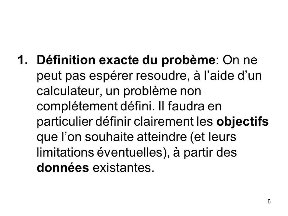 5 1.Définition exacte du probème: On ne peut pas espérer resoudre, à laide dun calculateur, un problème non complétement défini. Il faudra en particul