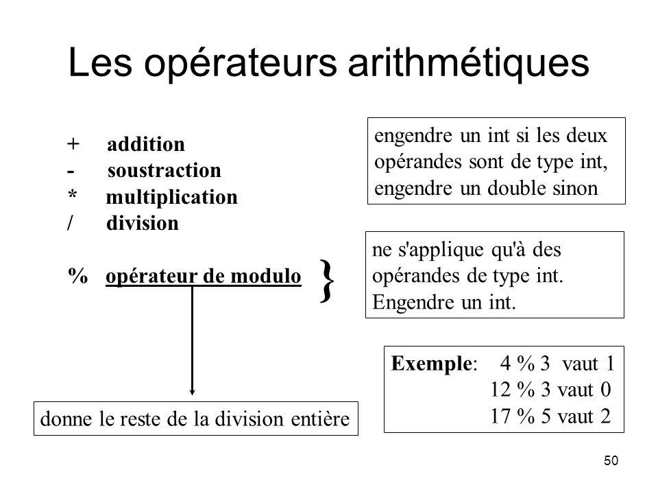 50 Les opérateurs arithmétiques + addition - soustraction * multiplication / division % opérateur de modulo engendre un int si les deux opérandes sont