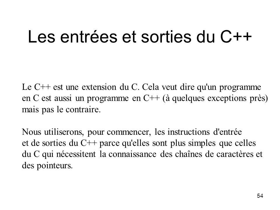 54 Les entrées et sorties du C++ Le C++ est une extension du C. Cela veut dire qu'un programme en C est aussi un programme en C++ (à quelques exceptio