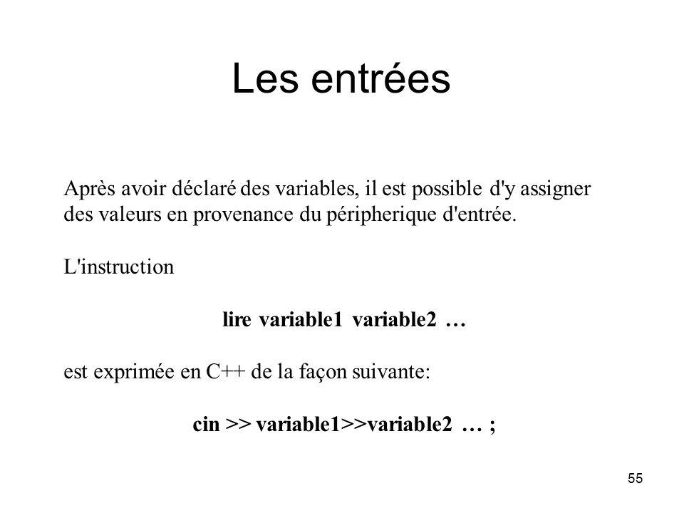 55 Les entrées Après avoir déclaré des variables, il est possible d'y assigner des valeurs en provenance du péripherique d'entrée. L'instruction lire