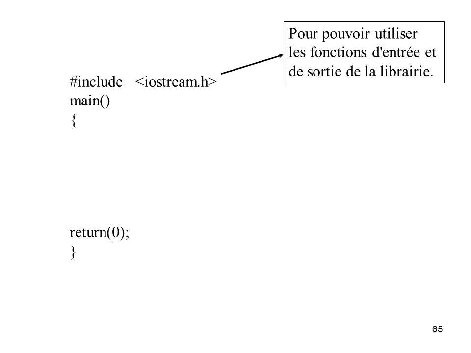 65 #include main() { return(0); } Pour pouvoir utiliser les fonctions d'entrée et de sortie de la librairie.