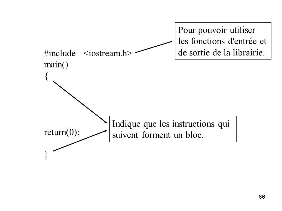 66 #include main() { return(0); } Pour pouvoir utiliser les fonctions d'entrée et de sortie de la librairie. Indique que les instructions qui suivent