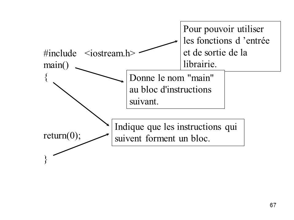 67 #include main() { return(0); } Pour pouvoir utiliser les fonctions d entrée et de sortie de la librairie. Indique que les instructions qui suivent