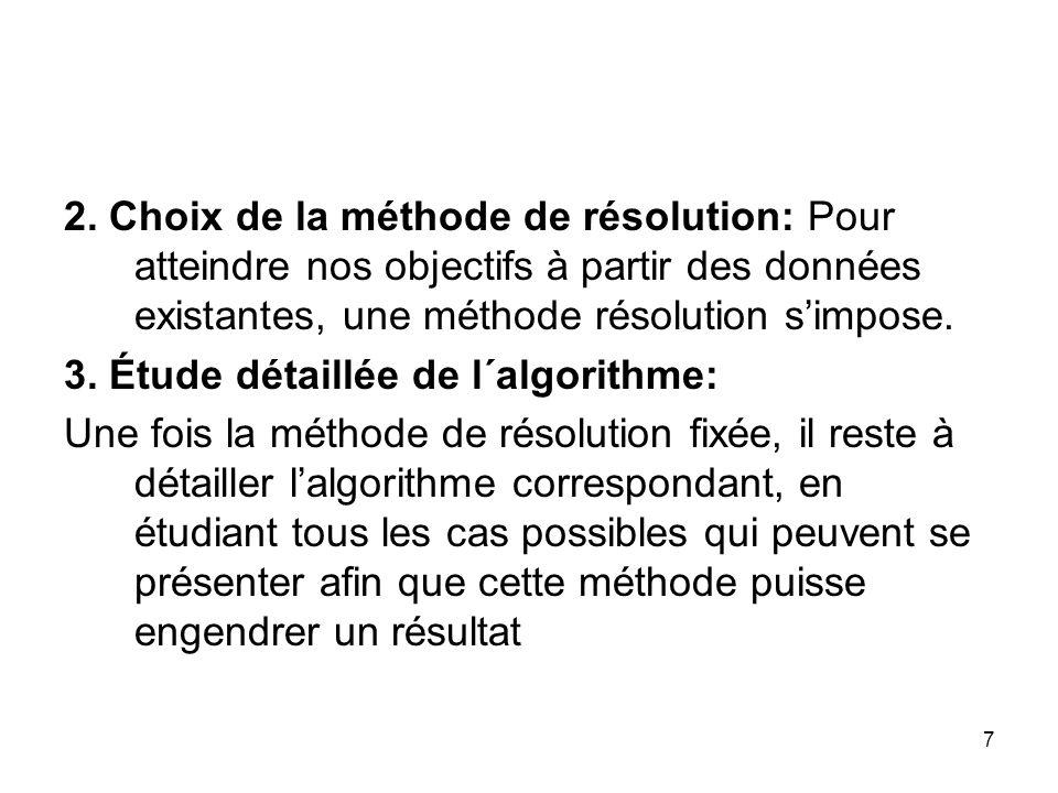 7 2. Choix de la méthode de résolution: Pour atteindre nos objectifs à partir des données existantes, une méthode résolution simpose. 3. Étude détaill