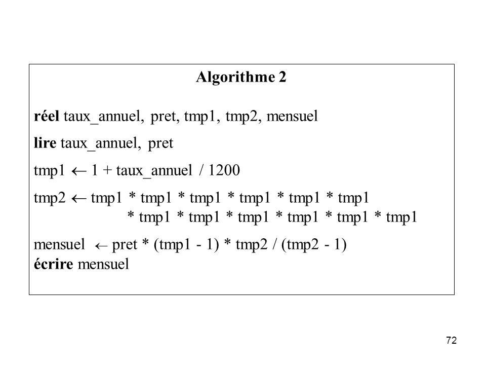 72 Algorithme 2 réel taux_annuel, pret, tmp1, tmp2, mensuel lire taux_annuel, pret tmp1 1 + taux_annuel / 1200 tmp2 tmp1 * tmp1 * tmp1 * tmp1 * tmp1 *