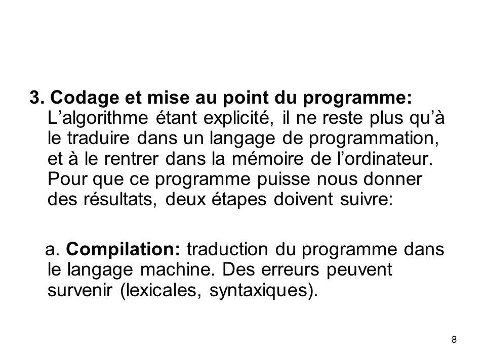 8 3. Codage et mise au point du programme: Lalgorithme étant explicité, il ne reste plus quà le traduire dans un langage de programmation, et à le ren