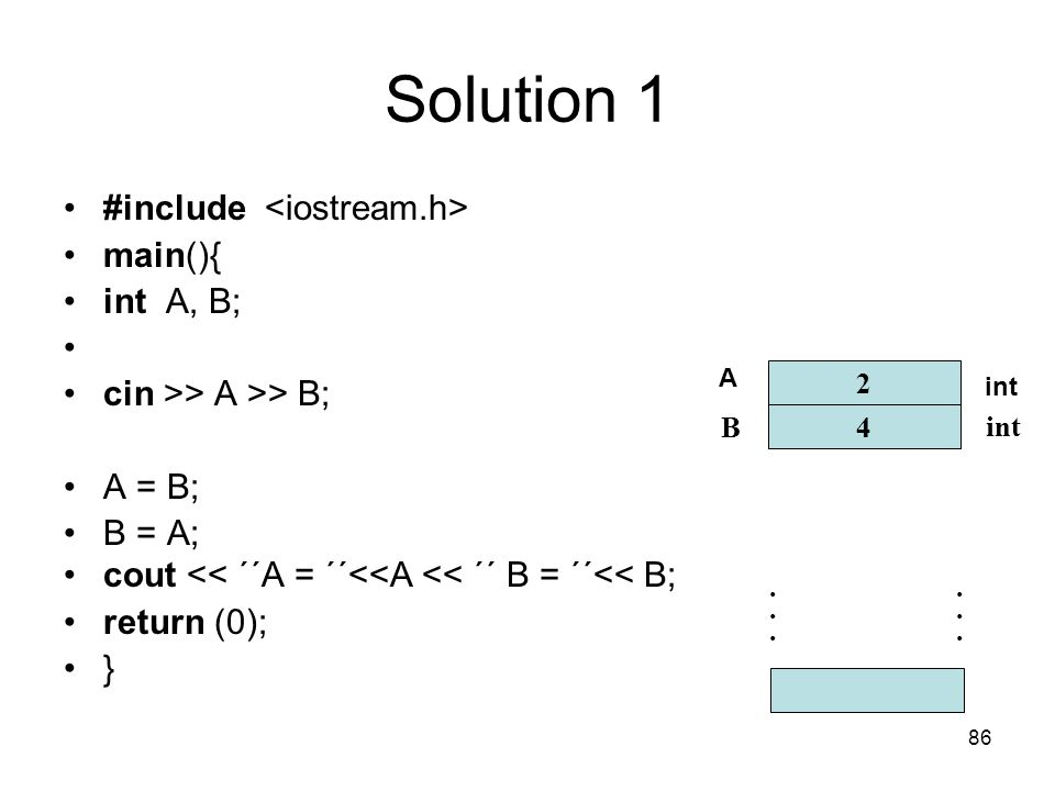 86 Solution 1 #include main(){ int A, B; cin >> A >> B; A = B; B = A; cout << ´´A = ´´<<A << ´´ B = ´´<< B; return (0); } 2 4 B int............ A