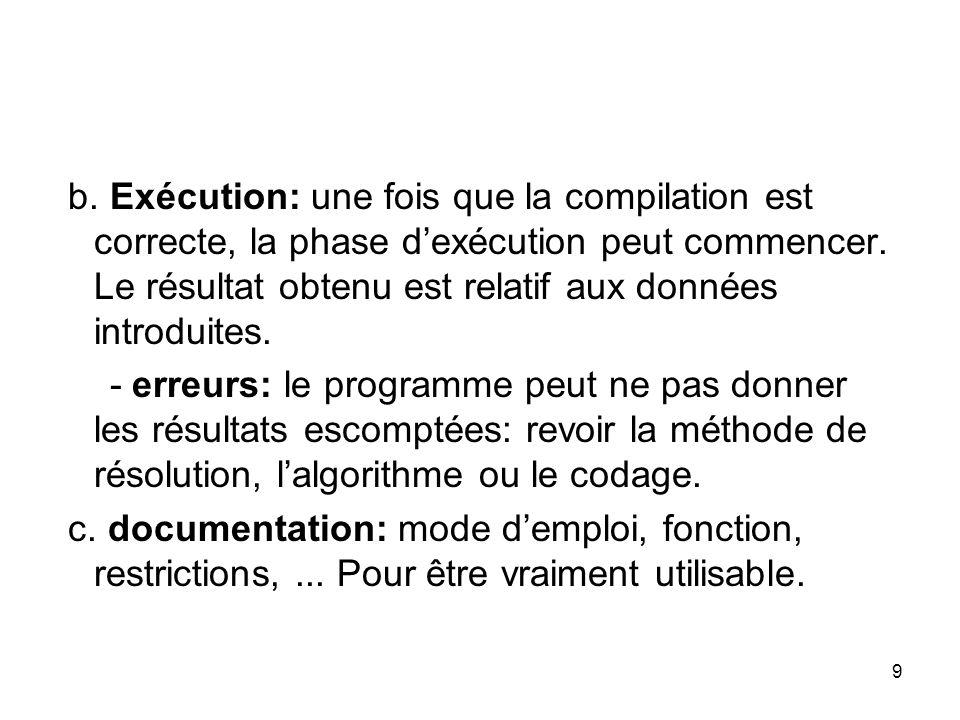 10 Définition Choix de la méthode de résolution Étude détaillée de lalgorithme correspondant Codage suivant un langage de programamtion Entrée du programme en ordinateur exécution P R O G R A M A T I O N ANALYSE