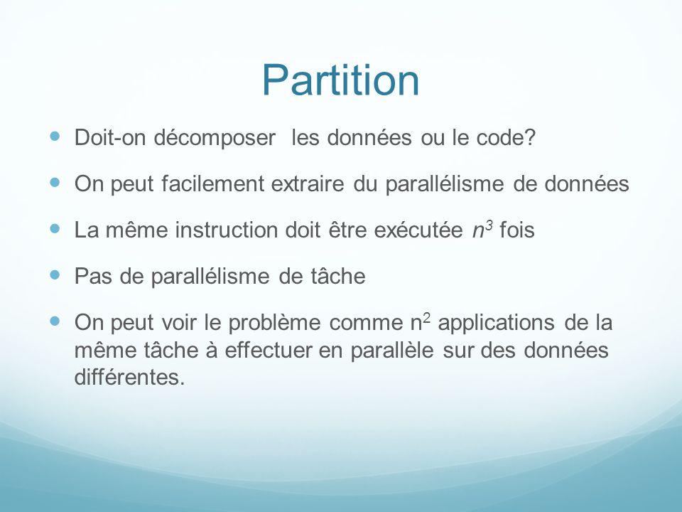 Partition Doit-on décomposer les données ou le code? On peut facilement extraire du parallélisme de données La même instruction doit être exécutée n 3
