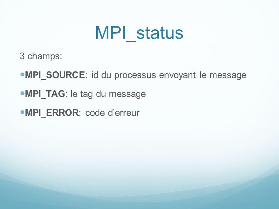 MPI_status 3 champs: MPI_SOURCE: id du processus envoyant le message MPI_TAG: le tag du message MPI_ERROR: code derreur