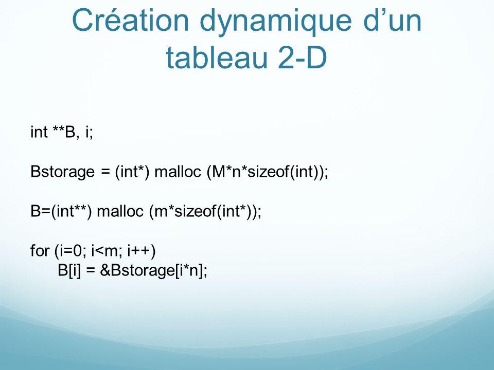 Création dynamique dun tableau 2-D int **B, i; Bstorage = (int*) malloc (M*n*sizeof(int)); B=(int**) malloc (m*sizeof(int*)); for (i=0; i<m; i++) B[i]