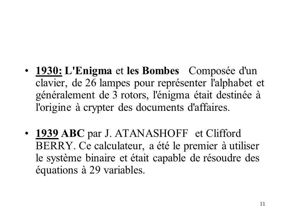 11 1930: L Enigma et les Bombes Composée d un clavier, de 26 lampes pour représenter l alphabet et généralement de 3 rotors, l énigma était destinée à l origine à crypter des documents d affaires.