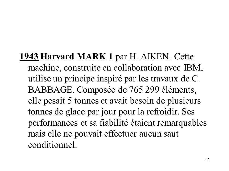 12 1943 Harvard MARK 1 par H. AIKEN. Cette machine, construite en collaboration avec IBM, utilise un principe inspiré par les travaux de C. BABBAGE. C