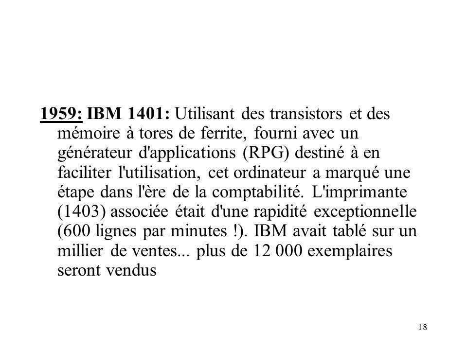 18 1959: IBM 1401: Utilisant des transistors et des mémoire à tores de ferrite, fourni avec un générateur d'applications (RPG) destiné à en faciliter