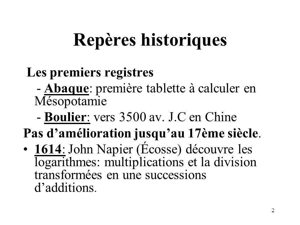 2 Repères historiques Les premiers registres - Abaque: première tablette à calculer en Mésopotamie - Boulier: vers 3500 av. J.C en Chine Pas daméliora