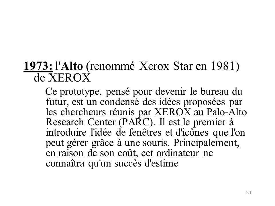 21 1973: l Alto (renommé Xerox Star en 1981) de XEROX Ce prototype, pensé pour devenir le bureau du futur, est un condensé des idées proposées par les chercheurs réunis par XEROX au Palo-Alto Research Center (PARC).
