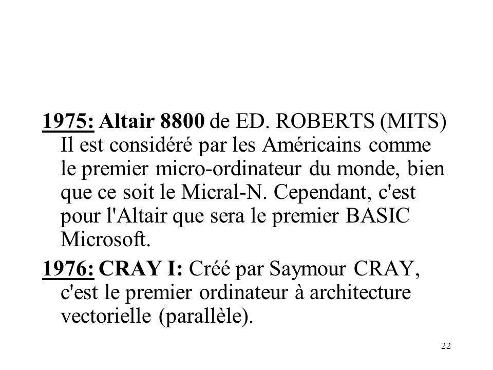 22 1975: Altair 8800 de ED. ROBERTS (MITS) Il est considéré par les Américains comme le premier micro-ordinateur du monde, bien que ce soit le Micral-