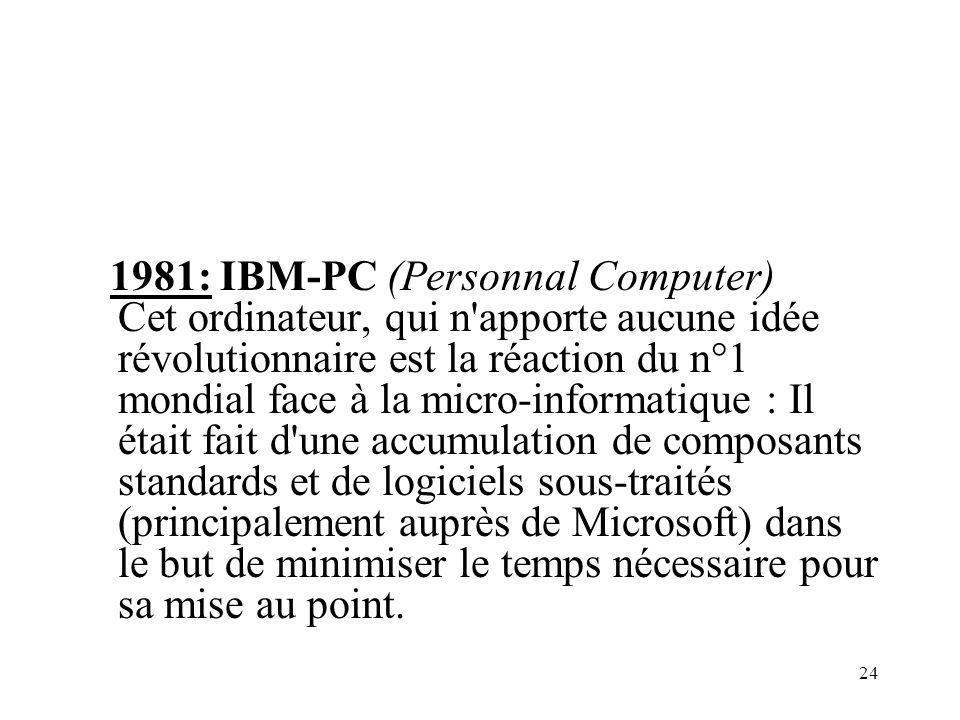 24 1981: IBM-PC (Personnal Computer) Cet ordinateur, qui n apporte aucune idée révolutionnaire est la réaction du n°1 mondial face à la micro-informatique : Il était fait d une accumulation de composants standards et de logiciels sous-traités (principalement auprès de Microsoft) dans le but de minimiser le temps nécessaire pour sa mise au point.