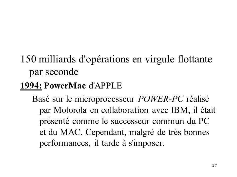 27 150 milliards d opérations en virgule flottante par seconde 1994: PowerMac d APPLE Basé sur le microprocesseur POWER-PC réalisé par Motorola en collaboration avec IBM, il était présenté comme le successeur commun du PC et du MAC.