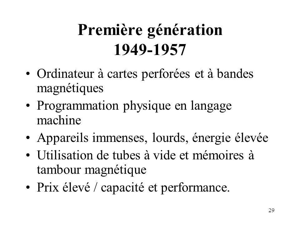 29 Première génération 1949-1957 Ordinateur à cartes perforées et à bandes magnétiques Programmation physique en langage machine Appareils immenses, l