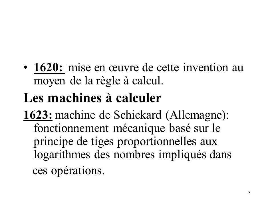 3 1620: mise en œuvre de cette invention au moyen de la règle à calcul. Les machines à calculer 1623: machine de Schickard (Allemagne): fonctionnement