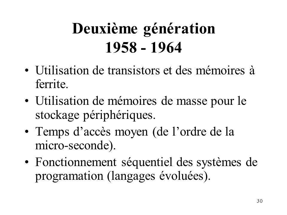 30 Deuxième génération 1958 - 1964 Utilisation de transistors et des mémoires à ferrite. Utilisation de mémoires de masse pour le stockage périphériqu