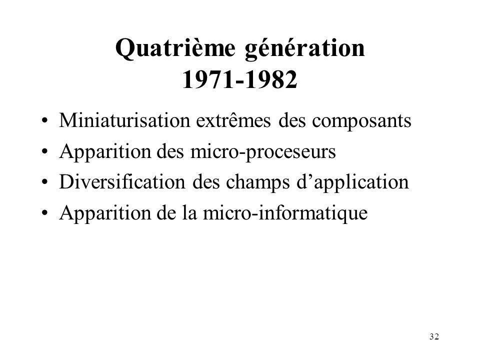 32 Quatrième génération 1971-1982 Miniaturisation extrêmes des composants Apparition des micro-proceseurs Diversification des champs dapplication Apparition de la micro-informatique