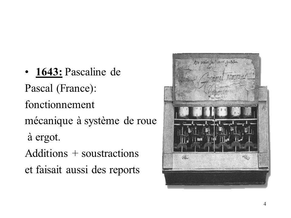4 1643: Pascaline de Pascal (France): fonctionnement mécanique à système de roues à ergot. Additions + soustractions et faisait aussi des reports