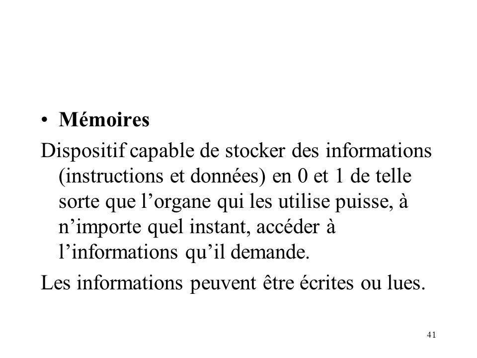 41 Mémoires Dispositif capable de stocker des informations (instructions et données) en 0 et 1 de telle sorte que lorgane qui les utilise puisse, à nimporte quel instant, accéder à linformations quil demande.