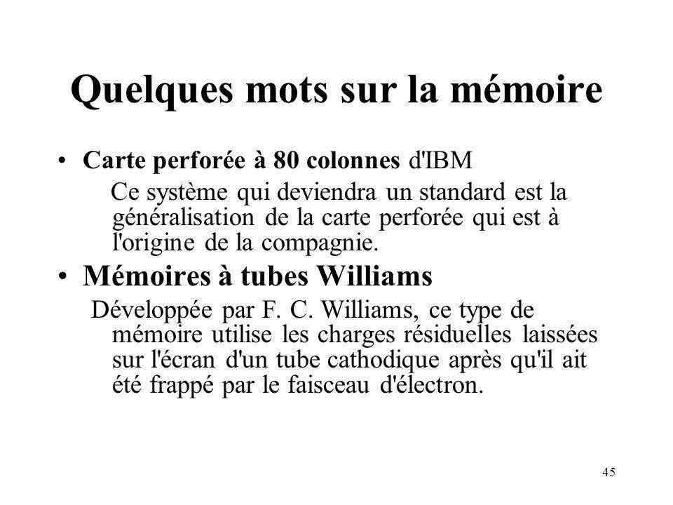 45 Quelques mots sur la mémoire Carte perforée à 80 colonnes d IBM Ce système qui deviendra un standard est la généralisation de la carte perforée qui est à l origine de la compagnie.