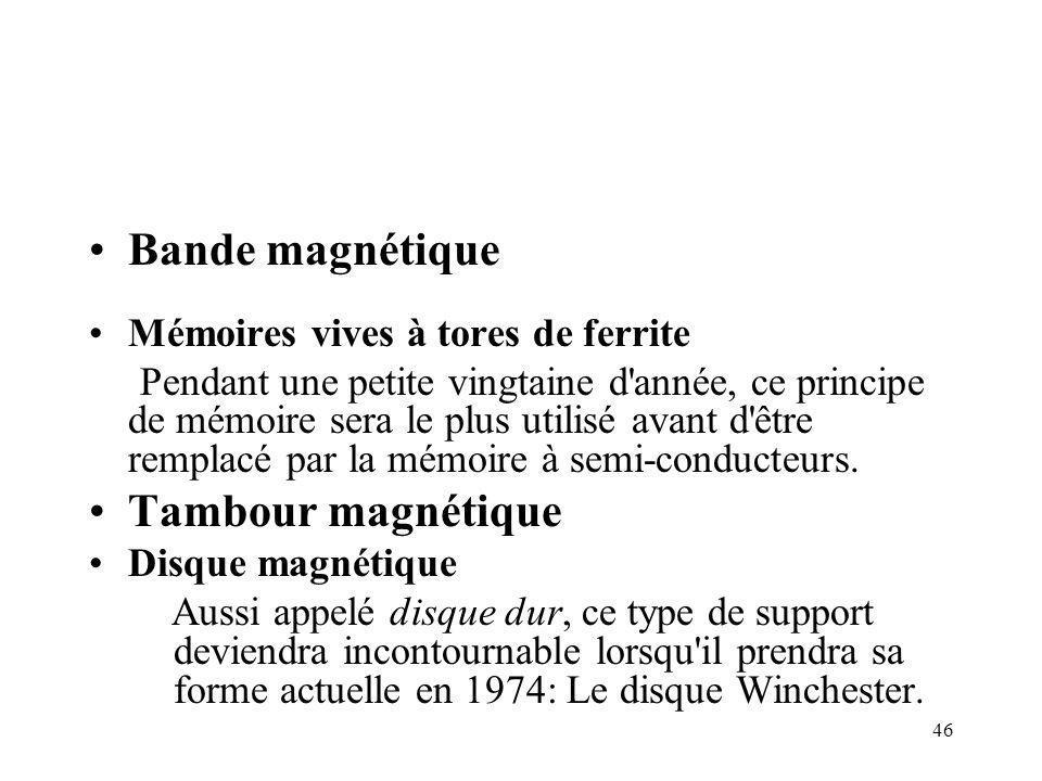 46 Bande magnétique Mémoires vives à tores de ferrite Pendant une petite vingtaine d'année, ce principe de mémoire sera le plus utilisé avant d'être r
