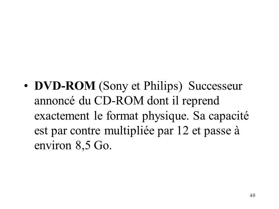 49 DVD-ROM (Sony et Philips) Successeur annoncé du CD-ROM dont il reprend exactement le format physique. Sa capacité est par contre multipliée par 12