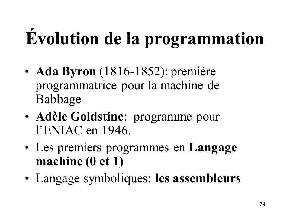 54 Évolution de la programmation Ada Byron (1816-1852): première programmatrice pour la machine de Babbage Adèle Goldstine: programme pour lENIAC en 1