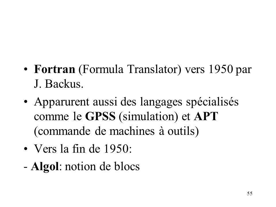 55 Fortran (Formula Translator) vers 1950 par J. Backus. Apparurent aussi des langages spécialisés comme le GPSS (simulation) et APT (commande de mach